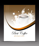 Template flyer with cup of coffee on the abstract background Royalty Free Stock Photos
