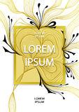 Template flyer design with abstract flower bows waves in gold black on white Stock Photography
