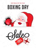 Template or flyer design, 70% discount offer with cute fighter s. Anta claus illustration on white background for Boxing Day sale royalty free illustration