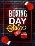 Template or flyer design, 70% discount offer with gift box and b. Oxing gloves illustration for Boxing Day sale stock illustration