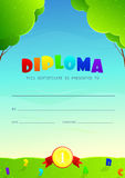 Template of flyer of diploma for kids Stock Image