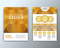 Template flyer with polygonal background Royalty Free Stock Image