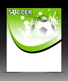 Template flyer with soccer ball on abstract background Royalty Free Stock Photography