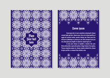 Template of a flyer. Templates flyer and invitation card in Oriental design. Floral ornament and pattern in a Moorish style. Arabesque Stock Photos