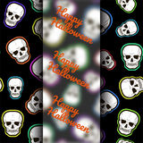 Template for flyers, postcards, flyers for Halloween. Seamless pattern with skulls on a black background. Vector Royalty Free Stock Photography