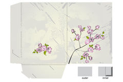 Template for folder with apple tree flowers. Template for gift folder with apple tree flowers Stock Photo