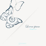 Template for folder, business card and invitation. Template for folder, brochure, business card and birthday invitation with butterfly and blooming flowers stock illustration