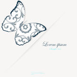 Template for folder, business card and invitation. Template for folder, brochure, business card and birthday invitation with butterfly and blooming flowers royalty free illustration