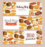 Template food with bread products. Banner template food with bread products. Rye bread and pretzel, muffin, pita, ciabatta and croissant, wheat and whole grain vector illustration
