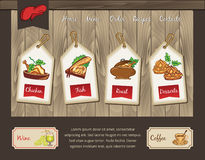 Template for food menu. Vector wooden background with illustrations Royalty Free Stock Image