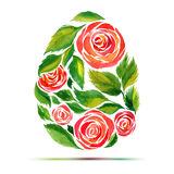 Template For Easter Greeting Card Or Invitation. Happy Easter! Watercolor Flower Rose Egg Royalty Free Stock Image