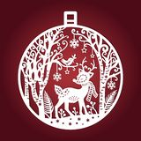 Template For Laser Cutting. Christmas Ball. Vector Stock Image