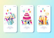 Free Template For Mobile App Page With Birthday Celebrations Theme. Party Celebration With Friends. Stock Photos - 160938843