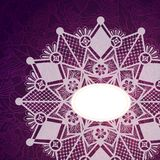 Template frame for card with lace snowflake. Stock Images