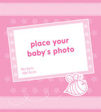 Template frame design for baby girl photo. Illustration Royalty Free Stock Photography