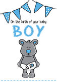 Template frame design for boy baby arrival Royalty Free Stock Images