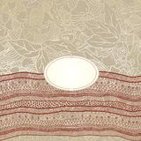 Template frame design for card with lace ribbon. Stock Photo