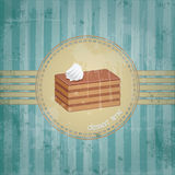 Template frame design with chocolate cake piece. Old retro style, dessert time concept Stock Photography