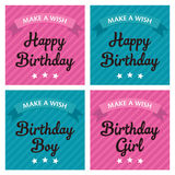 Template frame design collection for birthday greeting card Stock Photography