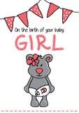 Template frame design for girl baby arrival Stock Image