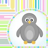 Template frame design for penguin greeting card Stock Image