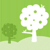 Template frame design with trees and green field. Nature concept vector illustration