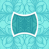 Template with frame and seamless  Zen-doodle pattern in blue Royalty Free Stock Photos