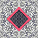 Template with frame and seamless  Zen-doodle pattern in grey red Stock Photos