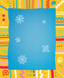 Template with frame and snow for christmas or birt Royalty Free Stock Photography