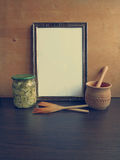 Template frame for writing recipes Stock Photo