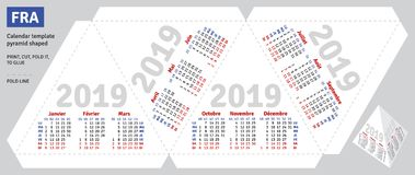 Template french calendar 2019 pyramid shaped Royalty Free Stock Photo