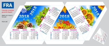 Template french calendar 2018 by seasons pyramid shaped Stock Photo