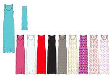 Template of Full Length Female Maxi Dress in solid and AOP design Royalty Free Stock Photos