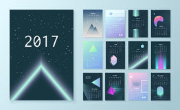 Template futuristic calendar for 2017. Calendar in the 80s style. Week starts on Monday. Sci-Fi Background Stock Photos