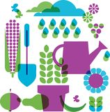 Template of garden objects Royalty Free Stock Image