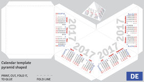 Template german calendar 2017 pyramid shaped. Vector Royalty Free Stock Photos