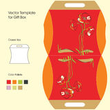 Template for gift box. Vector Template for gift box with red flowers vector illustration