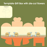 Template gift box. For candy with die-cut flowers vector illustration