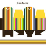 Template gift box for candy. Gift box - candy, toys, various royalty free illustration