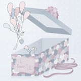 A template gift box with patchwork texture, 3d. Hand drawn artistic pair. Valentine's day. Royalty Free Stock Photo