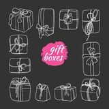 Template of gift boxes in cartoon style. Doodle vector. Vector template of gift boxes in cartoon style. Doodle box icon with hand drawn bows. Gift wrap. Gift Stock Photography
