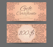 Template Gift Certificate For Yoga Studio, Spa Center, Massage Royalty Free Stock Image