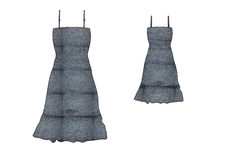 Template of girl frill and waist gathering denim dress design Royalty Free Stock Photos