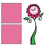 Template for girls album with two pink frame for text and floral Stock Images