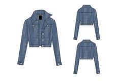 Template of Girls Long Sleeve Denim button fastener Jacket design Royalty Free Stock Image
