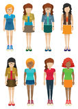 Template of girls with no faces Royalty Free Stock Image