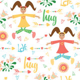 Template with girls are playing, jumping and hugging on the white background decorated the hearts, flowers and arrow. Stock Photos