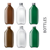 Template of glass bottles Royalty Free Stock Photo
