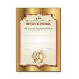 Template gold certificates with the medal Laurel Stock Images