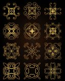 Template gold frame in the vector for laser cutting. Unique decorative ornaments for greeting cards, wedding invitations, save the royalty free illustration